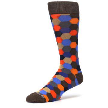 Image of Brown Orange Blue Hexagon Men's Dress Socks (side-2-09)
