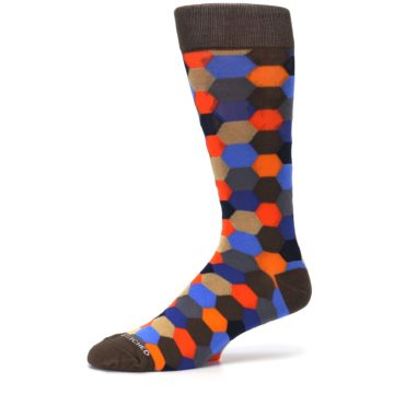 Image of Brown Orange Blue Hexagon Men's Dress Socks (side-2-10)