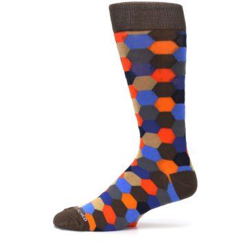 Image of Brown Orange Blue Hexagon Men's Dress Socks (side-2-11)