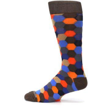 Image of Brown Orange Blue Hexagon Men's Dress Socks (side-2-12)