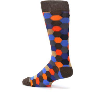 Image of Brown Orange Blue Hexagon Men's Dress Socks (side-2-13)