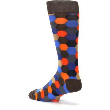 Image of Brown Orange Blue Hexagon Men's Dress Socks (side-2-back-14)