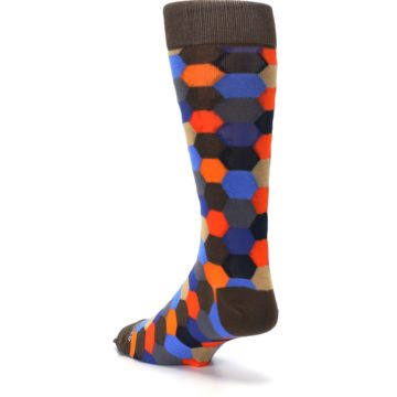 Image of Brown Orange Blue Hexagon Men's Dress Socks (side-2-back-15)