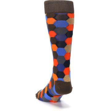 Image of Brown Orange Blue Hexagon Men's Dress Socks (side-2-back-16)