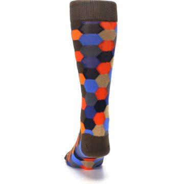 Image of Brown Orange Blue Hexagon Men's Dress Socks (back-17)
