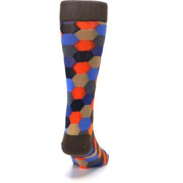 Image of Brown Orange Blue Hexagon Men's Dress Socks (back-19)