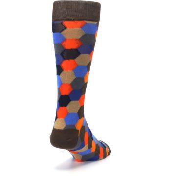 Image of Brown Orange Blue Hexagon Men's Dress Socks (side-1-back-20)