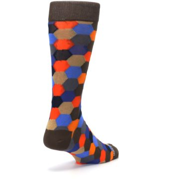 Image of Brown Orange Blue Hexagon Men's Dress Socks (side-1-back-21)