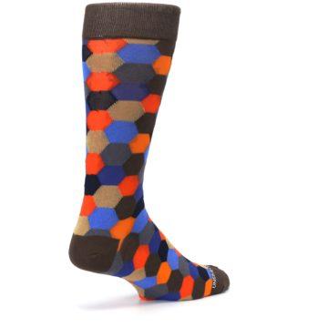 Image of Brown Orange Blue Hexagon Men's Dress Socks (side-1-back-22)