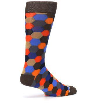 Image of Brown Orange Blue Hexagon Men's Dress Socks (side-1-23)