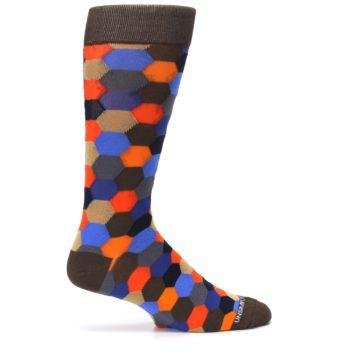 Image of Brown Orange Blue Hexagon Men's Dress Socks (side-1-24)