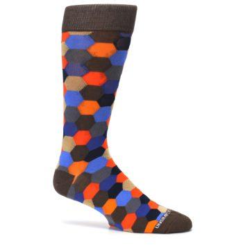 Image of Brown Orange Blue Hexagon Men's Dress Socks (side-1-25)