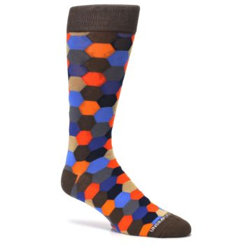 Image of Brown Orange Blue Hexagon Men's Dress Socks (side-1-26)
