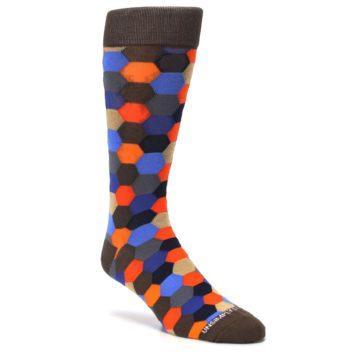 Image of Brown Orange Blue Hexagon Men's Dress Socks (side-1-27)
