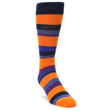 Image of Orange Blue Block Stripe Men's Dress Socks (side-1-front-02)