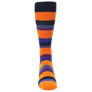 Image of Orange Blue Block Stripe Men's Dress Socks (front-04)