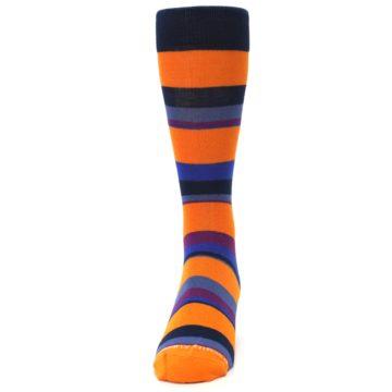 Image of Orange Blue Block Stripe Men's Dress Socks (front-05)