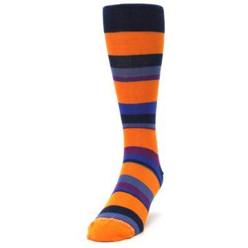Image of Orange Blue Block Stripe Men's Dress Socks (side-2-front-06)