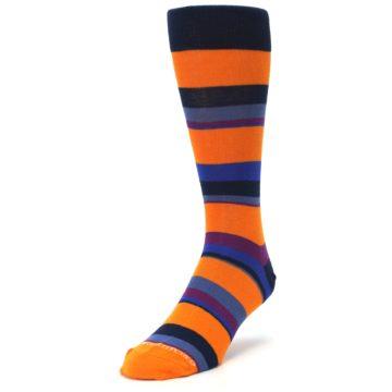 Image of Orange Blue Block Stripe Men's Dress Socks (side-2-front-07)