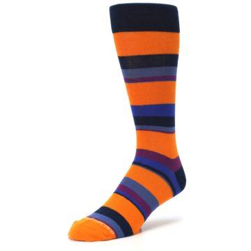 Image of Orange Blue Block Stripe Men's Dress Socks (side-2-front-08)