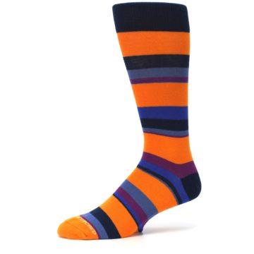Image of Orange Blue Block Stripe Men's Dress Socks (side-2-10)
