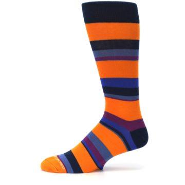 Image of Orange Blue Block Stripe Men's Dress Socks (side-2-11)