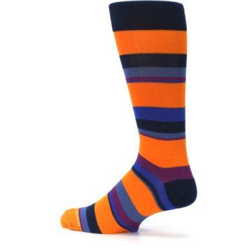 Image of Orange Blue Block Stripe Men's Dress Socks (side-2-13)