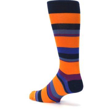 Image of Orange Blue Block Stripe Men's Dress Socks (side-2-back-14)