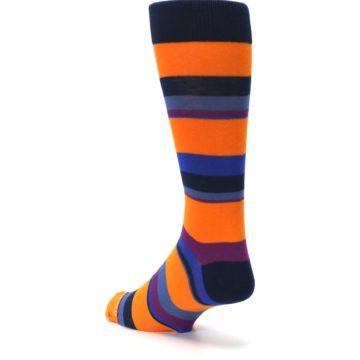 Image of Orange Blue Block Stripe Men's Dress Socks (side-2-back-15)