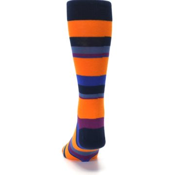 Image of Orange Blue Block Stripe Men's Dress Socks (back-17)
