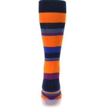 Image of Orange Blue Block Stripe Men's Dress Socks (back-18)