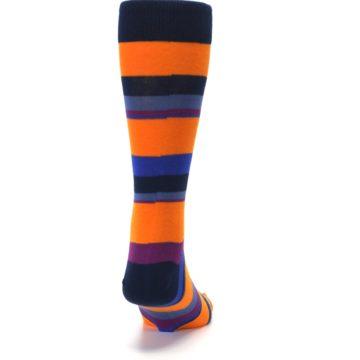 Image of Orange Blue Block Stripe Men's Dress Socks (back-19)