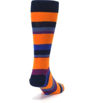 Image of Orange Blue Block Stripe Men's Dress Socks (side-1-back-20)