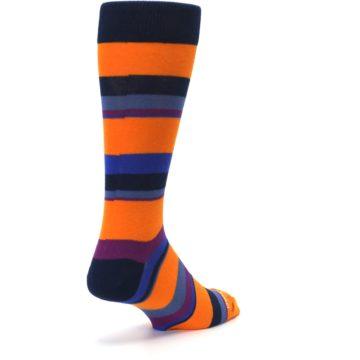 Image of Orange Blue Block Stripe Men's Dress Socks (side-1-back-21)
