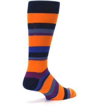 Image of Orange Blue Block Stripe Men's Dress Socks (side-1-back-22)