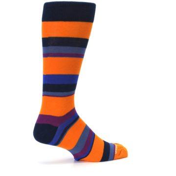 Image of Orange Blue Block Stripe Men's Dress Socks (side-1-23)