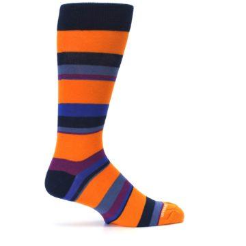Image of Orange Blue Block Stripe Men's Dress Socks (side-1-24)