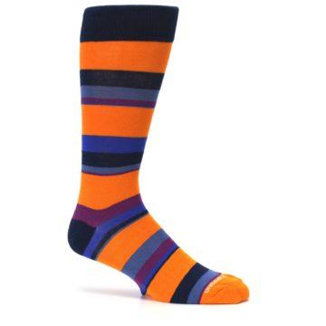 Image of Orange Blue Block Stripe Men's Dress Socks (side-1-25)