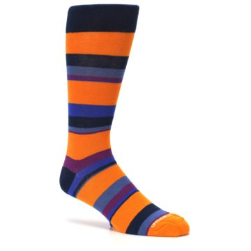 Image of Orange Blue Block Stripe Men's Dress Socks (side-1-26)