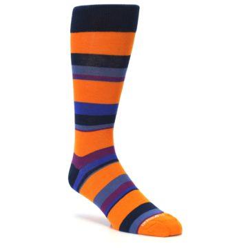 Image of Orange Blue Block Stripe Men's Dress Socks (side-1-27)