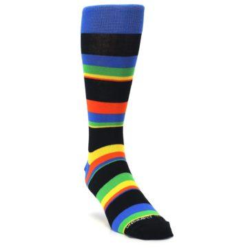 Image of Black Yellow Green Stripe Men's Dress Socks (side-1-front-02)