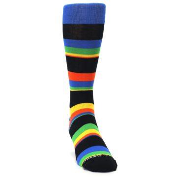 Image of Black Yellow Green Stripe Men's Dress Socks (side-1-front-03)