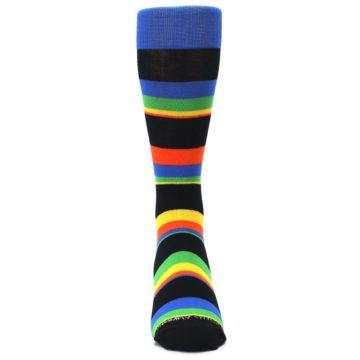 Image of Black Yellow Green Stripe Men's Dress Socks (front-04)