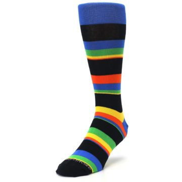 Image of Black Yellow Green Stripe Men's Dress Socks (side-2-front-07)