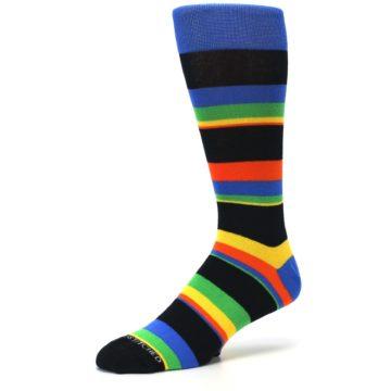 Image of Black Yellow Green Stripe Men's Dress Socks (side-2-09)