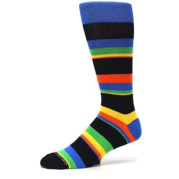 Image of Black Yellow Green Stripe Men's Dress Socks (side-2-10)