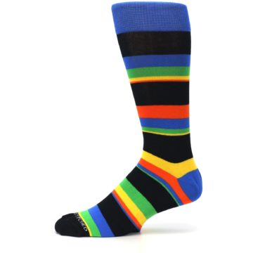Image of Black Yellow Green Stripe Men's Dress Socks (side-2-11)