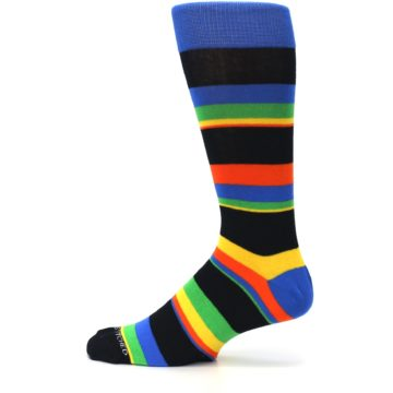 Image of Black Yellow Green Stripe Men's Dress Socks (side-2-12)