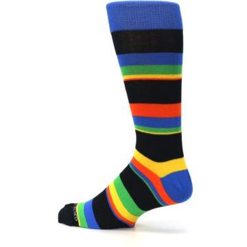 Image of Black Yellow Green Stripe Men's Dress Socks (side-2-13)