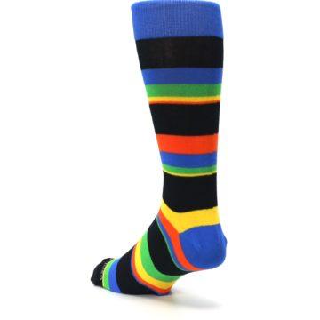 Image of Black Yellow Green Stripe Men's Dress Socks (side-2-back-15)
